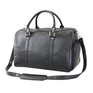 高級羊革軽量ボストンバッグ ブラック メンズ 紳士 シニア 黒 レザーバッグ かばん 鞄 ショルダー...