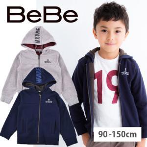 【 BeBe / ベベ 】 裏毛フードロゴプリントパーカー 子供服 BeBe ベベ アウトレット 男...