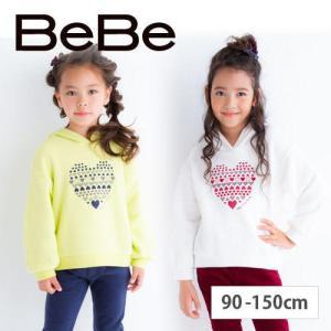 【 BeBe / ベベ 】 ベア裏毛ハートプリントトレーナー 子供服 BeBe ベベ アウトレット ...