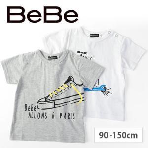 【 BeBe / ベベ 】 フロント プリント 半袖Tシャツ 子供服 BeBe ベベ アウトレット ...