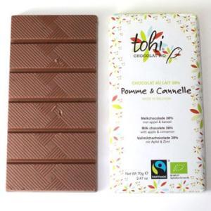 TOHI トヒ ミルクチョコレート カカオ38%〈アップル&シナモン〉70gタブレット bebebe