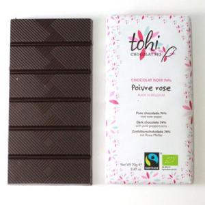 TOHI トヒ ダークチョコレート カカオ74%〈ピンクペッパー〉70gタブレット|bebebe