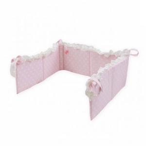 ピンク水玉 ベッドバンパー マルチクッション