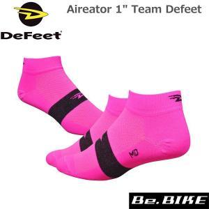 "DeFeet Aireator 1"" Team Defeet ハイビズピンク 自転車 ソックス 靴下|bebike"