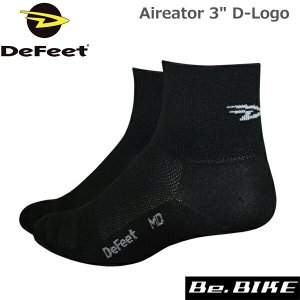 "DeFeet Aireator 3"" D-Logo ブラック自転車 ソックス 靴下|bebike"