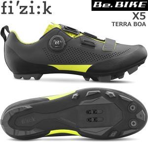 フィジーク X5 TERRA BOA グレー/イエロー 自転車 シューズ MTB マウンテンバイク用用|bebike
