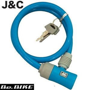 J&C JC-023W コンパクトシリングロック (ワイヤー錠) ブルー 自転車 鍵 ワイヤーロック|bebike