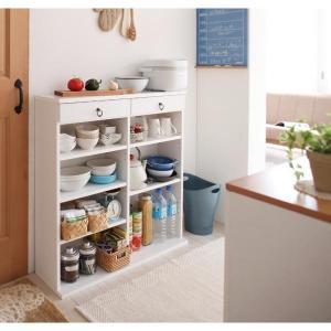 食器棚 白 おしゃれ 薄型 スリム  〔幅89×高さ90×奥行24cm〕 日本製 キッチン収納 コンパクト|bed-lukit