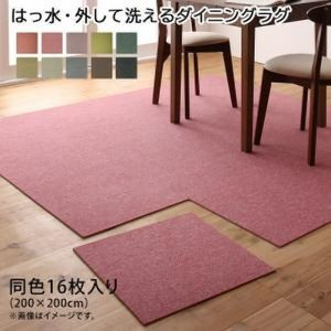 タイルカーペット 〔同色16枚入り〕 (約200×200cm)  〔はっ水・防汚・防炎〕 日本製 bed-lukit