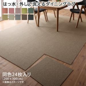 タイルカーペット 〔同色24枚入り〕 (約200×300cm)  〔はっ水・防汚・防炎〕 日本製 bed-lukit