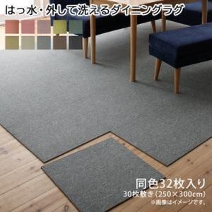 タイルカーペット 〔同色32枚入り〕  (約250×300cm ※30枚敷き)〔はっ水・防汚・防炎〕 日本製 bed-lukit