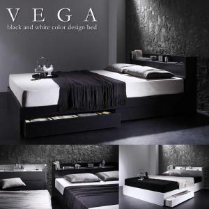 ベッド VEGA ヴェガ モダンベッド 棚 コンセント付き収納ベッドの写真