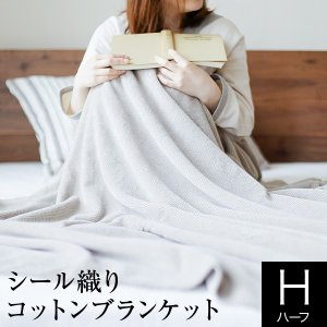 ブランケット ハーフサイズ シール織りコットンブランケット 140×100cm 日本製 洗える 綿100% ふんわり なめらか 肌触り 毛布 もうふ ひざ掛け ひざかけ 膝掛|bed