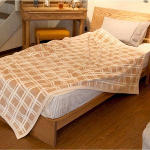 オーガニックコットン ブラウンチェック綿毛布 |bed