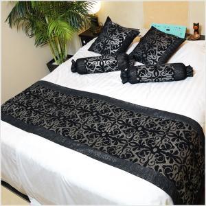 ベッドスロー ベッドライナー キング、クイーンサイズ、ダブル 250×70 タオル生地ブラック×シルバー No.16|bedrunner