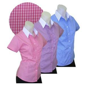 半袖 白襟 チェックシャツw272181【34】5号 小さいサイズ・レディース|bee-fit
