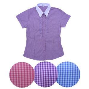 半袖 白襟 チェックシャツw272181【34】5号 小さいサイズ・レディース|bee-fit|02