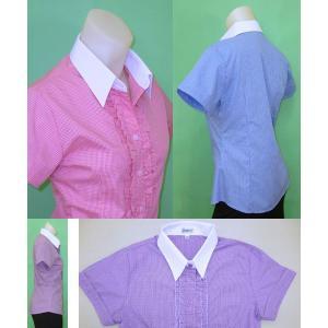 半袖 白襟 チェックシャツw272181【34】5号 小さいサイズ・レディース|bee-fit|03