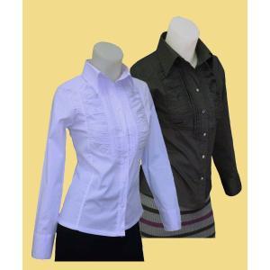 ストレッチデザインシャツw272268【S】5号 小さいサイズ・レデイース|bee-fit