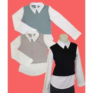 レイヤー風長袖シャツ w272421 【S】5号 小さいサイズ・レディース|bee-fit