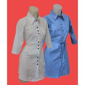 小さいサイズの チュニック丈 七分袖シャツ w272502 Sサイズ 5号〜7号|bee-fit