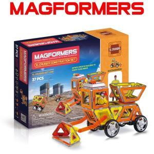 マグフォーマー 37ピース 知育玩具 ブロック マグネット おもちゃ ブロック コンストラクションセット 工事車両|bee8