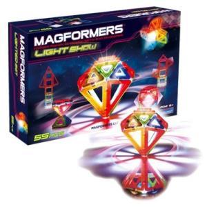 マグフォーマー 55ピース 知育玩具 ブロック マグネット おもちゃ ライトショーセット LEDで光る|bee8