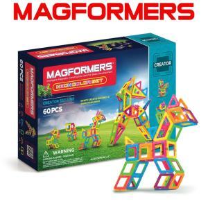 マグフォーマー 60ピース 知育玩具 ブロック マグネット おもちゃ ネオンカラーセット|bee8