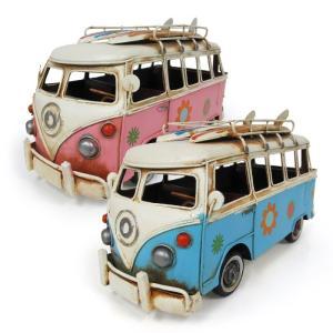 レトロなブリキのおもちゃ 輸入雑貨 ワーゲンバス風 ワーゲンバス風の可愛らしいブリキおもちゃ。レトロ...