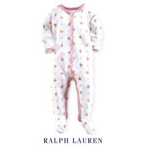 ラルフローレン カバーオール ベビー 女の子 POLOクマ 足つき 長袖 前ボタン ギフト 出産祝い|bee8