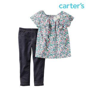 カーターズ 半袖 ブラウス ボトムス 上下セット トップス カットソー レギンス ストレッチ キッズ 女の子 子供 子供服|bee8