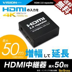 HDMI 2.0 リピーター 増幅器 延長器 HDMI2.0対応 4K 60Hz 60FPS 1080P 50Mまで 中継 アダプタ 送料無料 beebraxs
