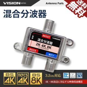 混合分波器 4K 8K 対応 TV テレビ アンテナ 3.2GHz F型 地デジ BS CS 衛星放送 送料無料 beebraxs