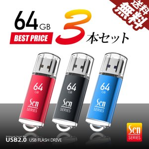 USBメモリ 64GB 3個入 USB2.0 パソコン デスクトップ ノート 納品 保管 回復ドライブに 3本セット Senシリーズ 1年保証 送料無料 beebraxs