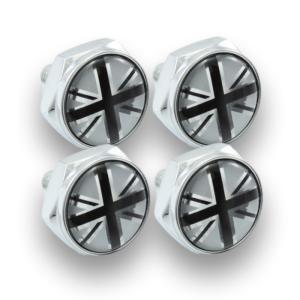 ナンバープレート ボルトカバー ブラックユニオンジャック 4個セット 汎用 ナンバーボルト ナンバーボルトカバー ナンバーボルトキャップ などに|beetech-japan