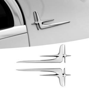 クロームメッキ サイド エンブレム 左右2枚セット ガーニッシュ トリム 外装 ステッカー ベンツ ...