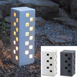 お庭をほんのり照らす、デザインにも凝った灯り。灯りAK-2 信楽焼 (170×170×320)|beever