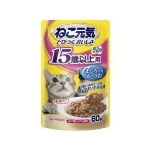 ねこ元気 総合栄養食 パウチ 15歳以上用 まぐろ入りかつお 60g behatu