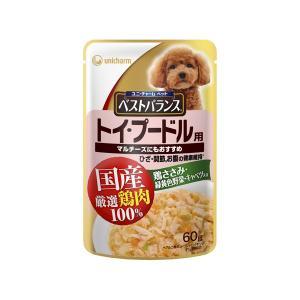 ユニチャーム 愛犬元気 ベストバランス 国産鶏ささみ入り トイ・プードル用 60gパウチ|behatu