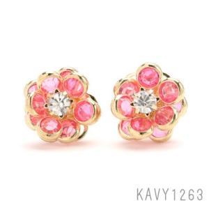 スイート フラワーストーンピアス ピンク KAVY1263|behatu