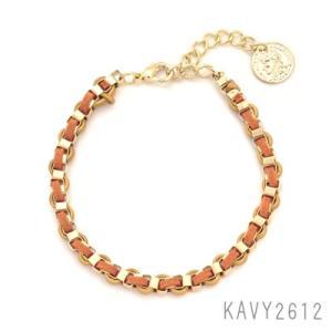 2カラー レザーチェーンブレスレット ゴールド×オレンジ KAVY2612|behatu