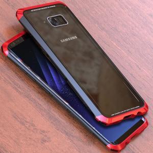GalaxyS8 Galaxy S8+ ガラスケース アルミバンパー Glass 強化ガラス カバー レッド ギャラクシーs8 ギャラクシーS8+ 透明 クリアケース|beineix-store