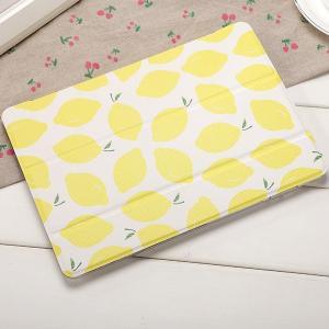 ◆材質:PUレザー(合成皮革) おしゃれ可愛いレモン柄2017 iPad 5ケース、スタンド機能、オ...