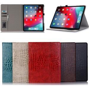 9d77a69a32c7 クロコダイル柄 2018 新型 iPadPro 11インチ 12.9インチ ケース ペンホルダー付き ペンシル 充電対応 メモ レシート カード入れ  アイパッドプロ 11 12.9 カバー