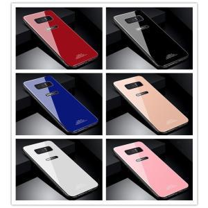 Galaxy Note8 ケース 真っ赤 ガラス Glass...