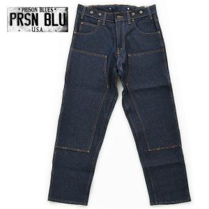 プリズンブルース PRISON BLUES #121 ダブルニーワークジーンズ with サスペンダーボタン ノンウォッシュ|being-yah