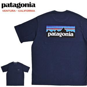 送料無料 【メール便配送】Patagonia パタゴニア Tシャツ 38512 ロゴ メンズ P-6ロゴ レスポンシビリティー 半袖Tシャツ ネイビー being-yah