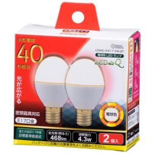オーム電機 OHM LED電球 ミニクリプトン形 E17 40W形相当 電球色 広配光 密閉器具 断熱材施工器具対応 468lm 全長69mm 2個入 LEDdeQ LDA4L-G-E17 IH9-2P