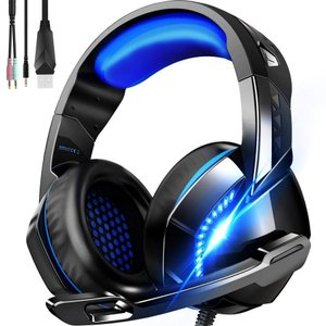 ゲーミングヘッドセット ヘッドホン ヘッドフォン 高音質重低音 マイク付き ゲーム用 音声チャット PC USB LED点灯 任天堂/switch /ps4/ Skype(H3)の画像