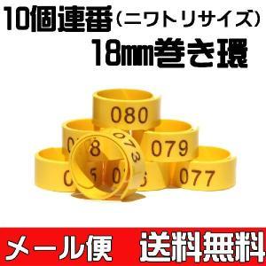 【送料無料】巻き環・ニワトリサイズの足環18mm 通し番号入り10個 【メール便対応代引き不可】|belbird